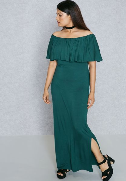 Ruffle Bardot Slit Maxi Dress