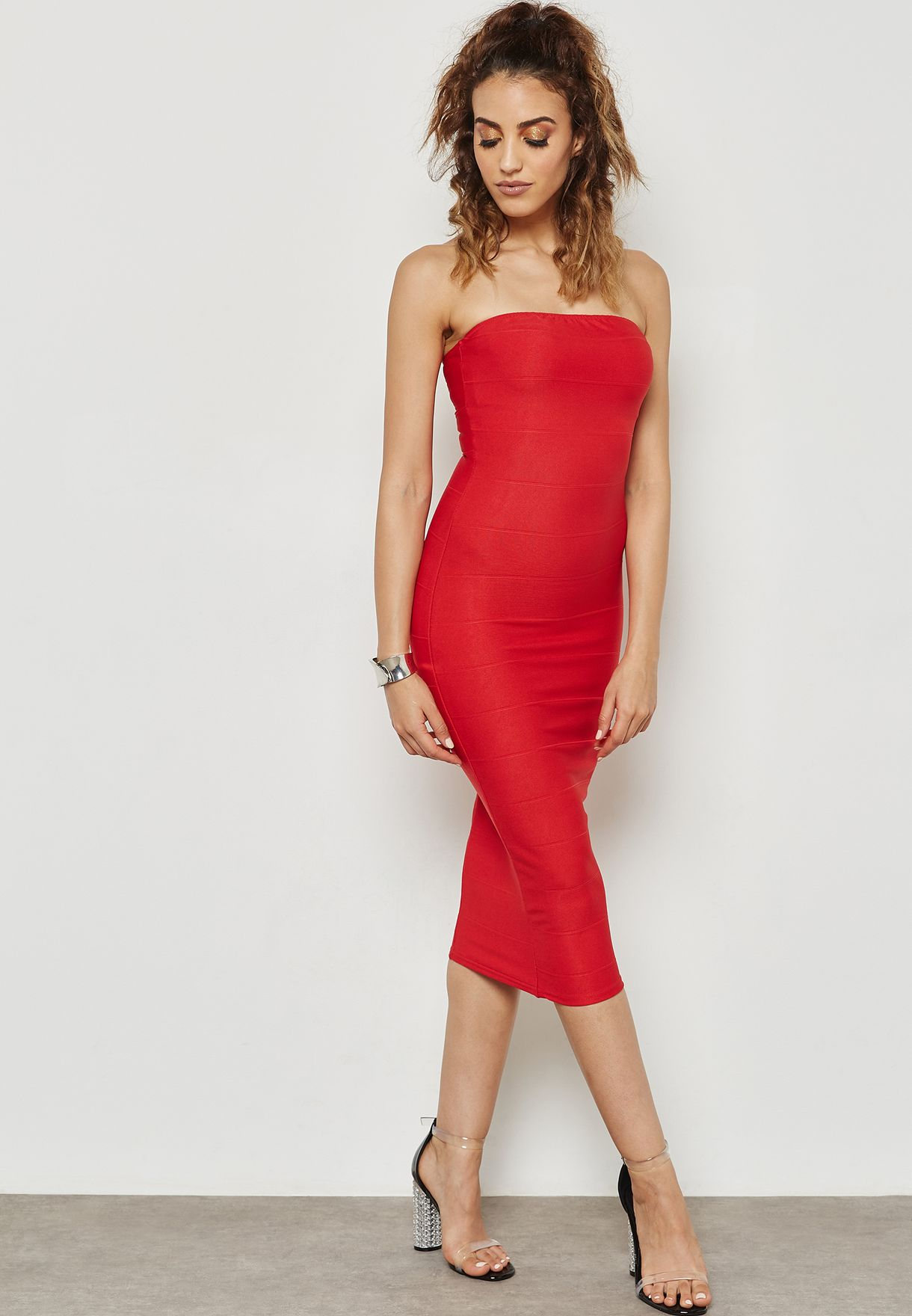 Red Strapless Bandage Dress