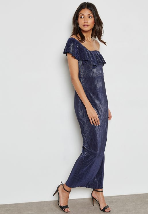 Ruffle One Shoulder Maxi Dress