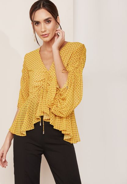 Balloon Sleeve Ruched Top