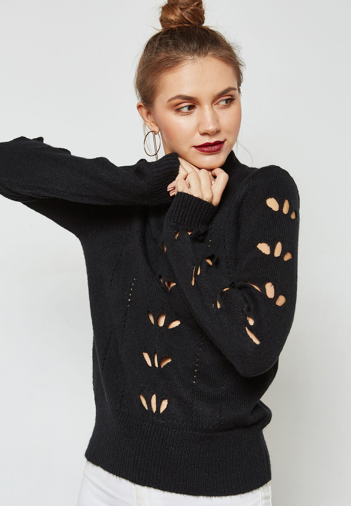 470f5b7cacd Shop Vero Moda black High Neck Sweater 10189166 for Women in UAE -  VE758AT33YWC