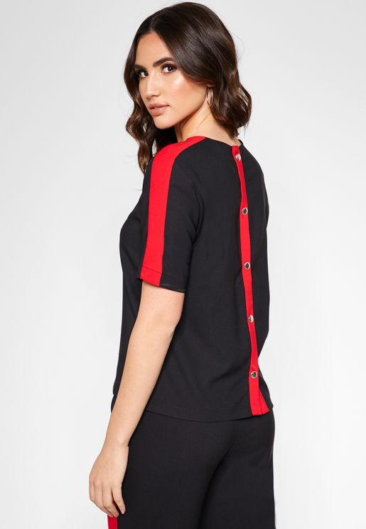 Button Back Short Sleeve Top
