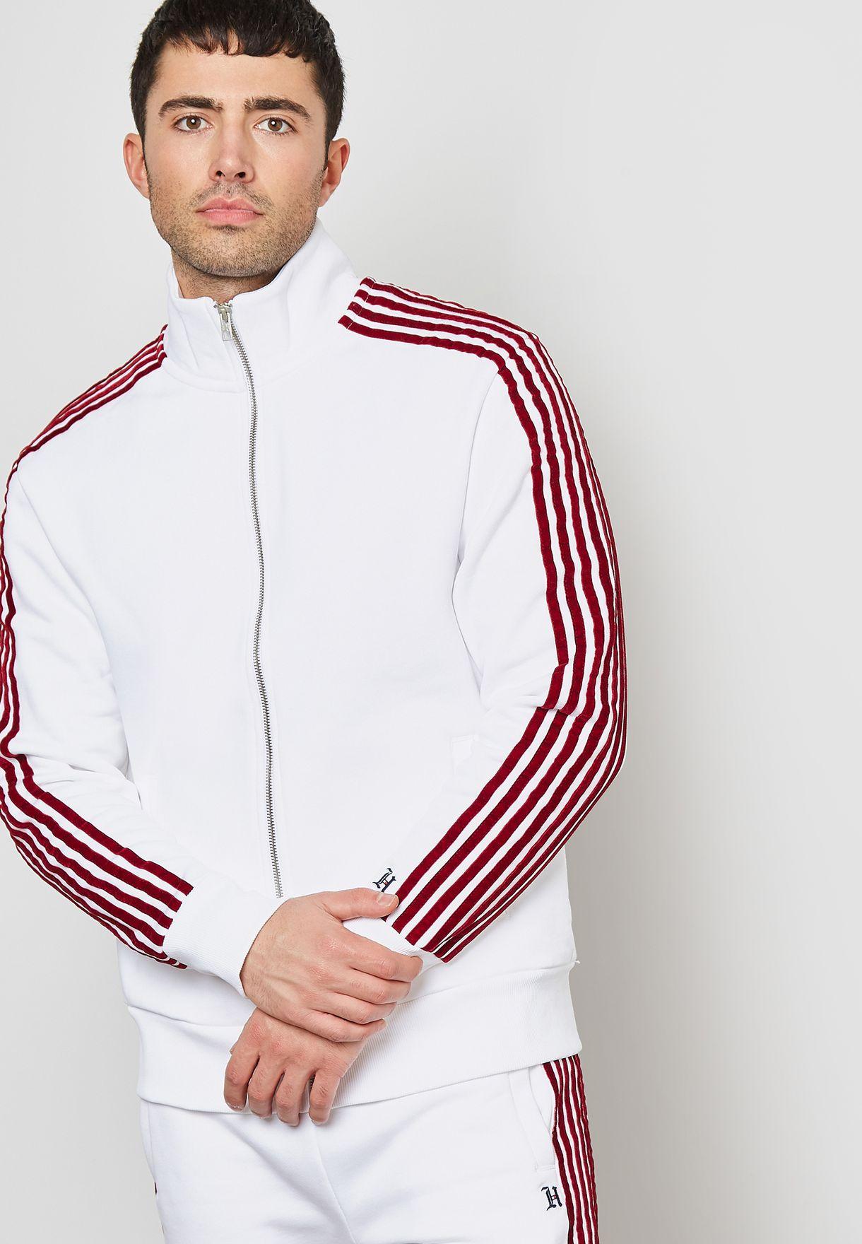 dc872cb24 Shop Tommy Hilfiger white Lewis Hamilton Stripe Track Jacket ...