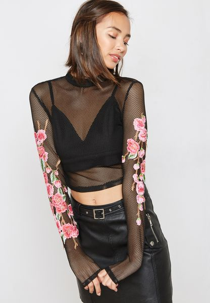 Embroidered Sleeve Mesh Top