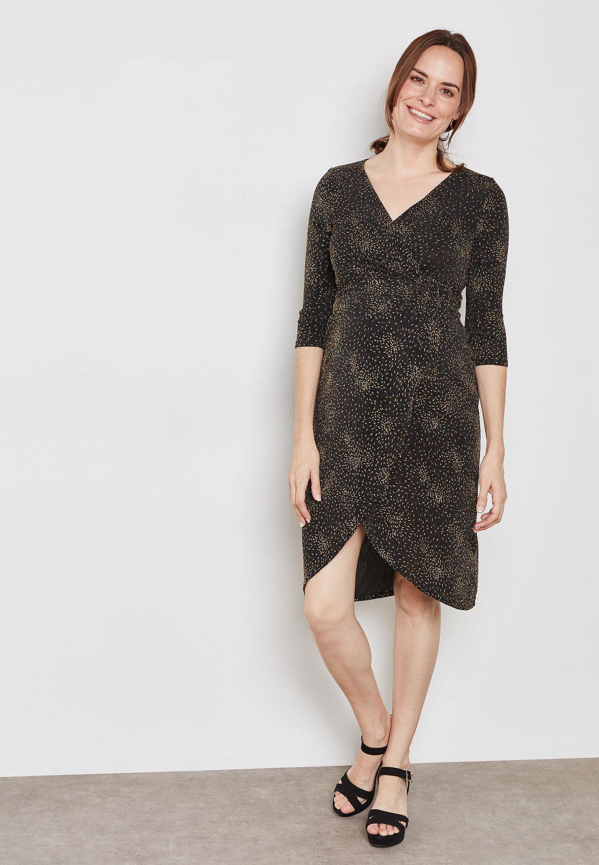 Asymmetric Metallic Wrap Dress