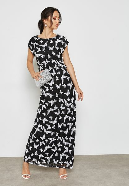 Butterfly Print Lace Maxi Dress
