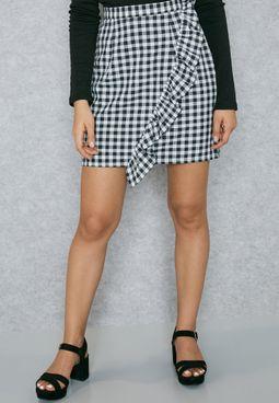 Ruffled Detail Gingham Skirt