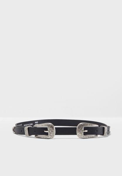 Slim Double Buckle Belt