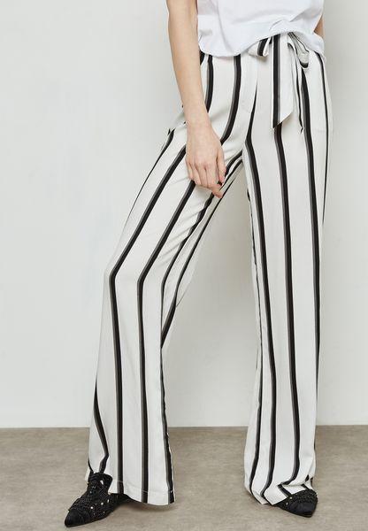 Striped Self Tie Pants
