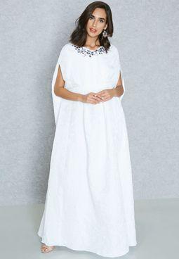 Embellished Yoke Brocade Cape Dress