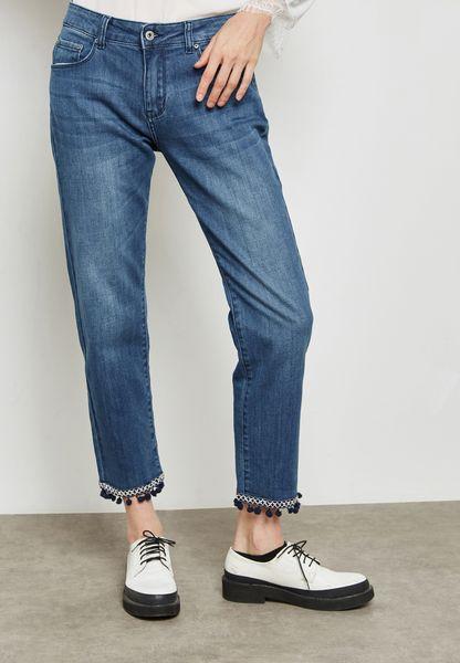 Pom Pom Hem Mom Jeans