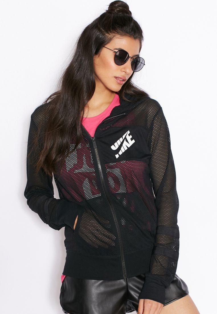 Shop Nike Black Mesh Full Zip Hoodie 726486 010 For Women