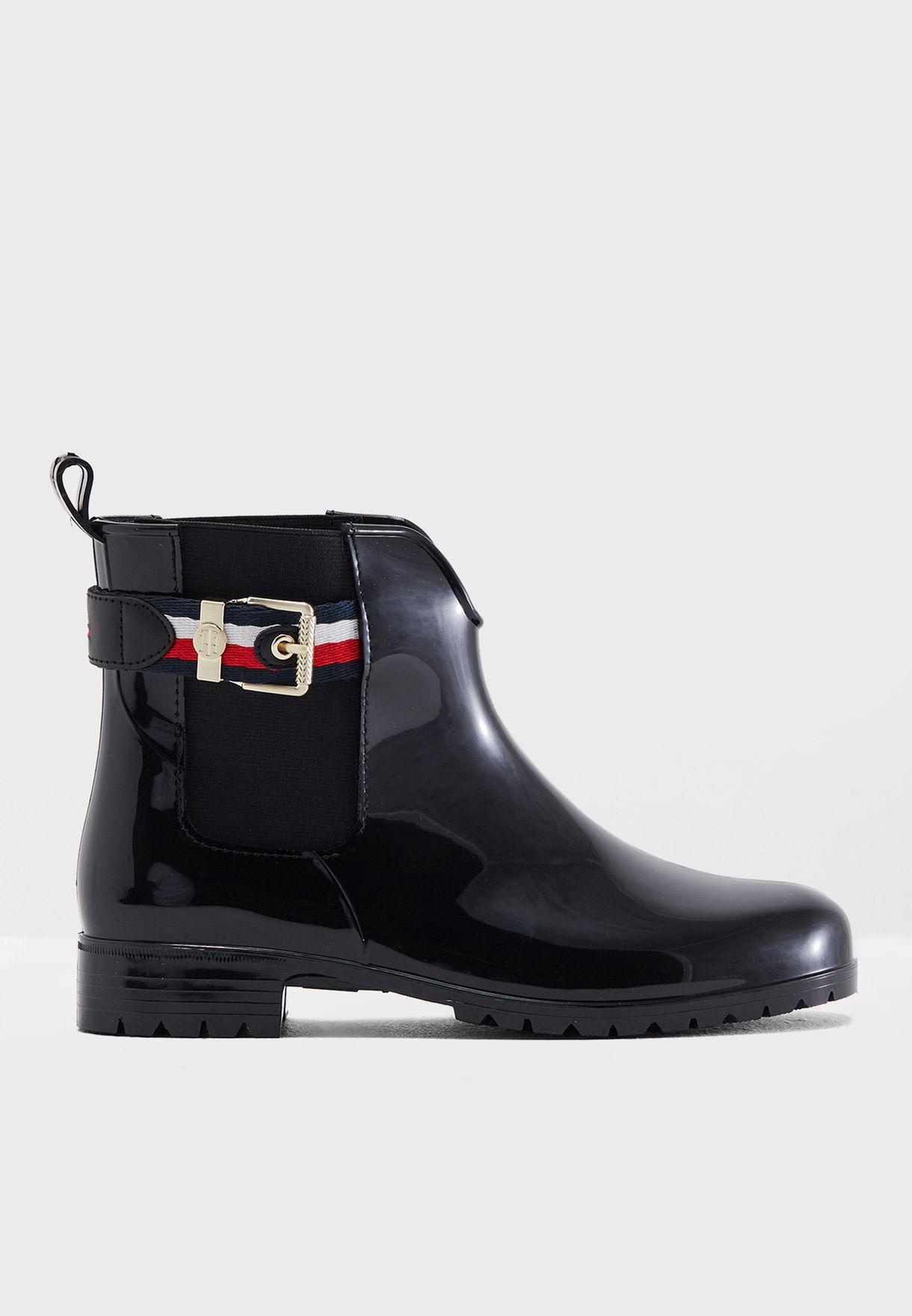 4948ff9871a38e Shop Tommy Hilfiger black Corporate Belt Rain Boot FW0FW03329990 for ...