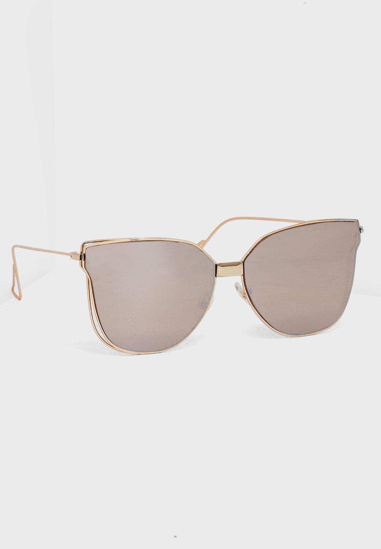 26e4f2626a4 Shop South beach gold Cat Eye Flat Lens Sunglasses 4-FL-800RSE for ...