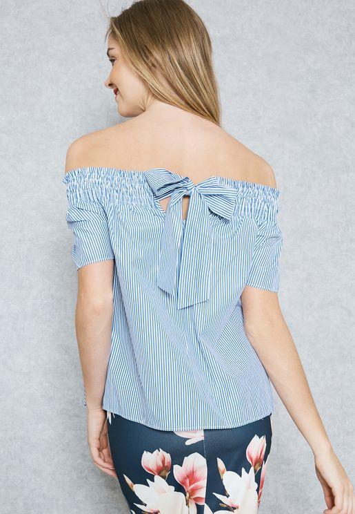 Tie Back Stripe Bardot Top