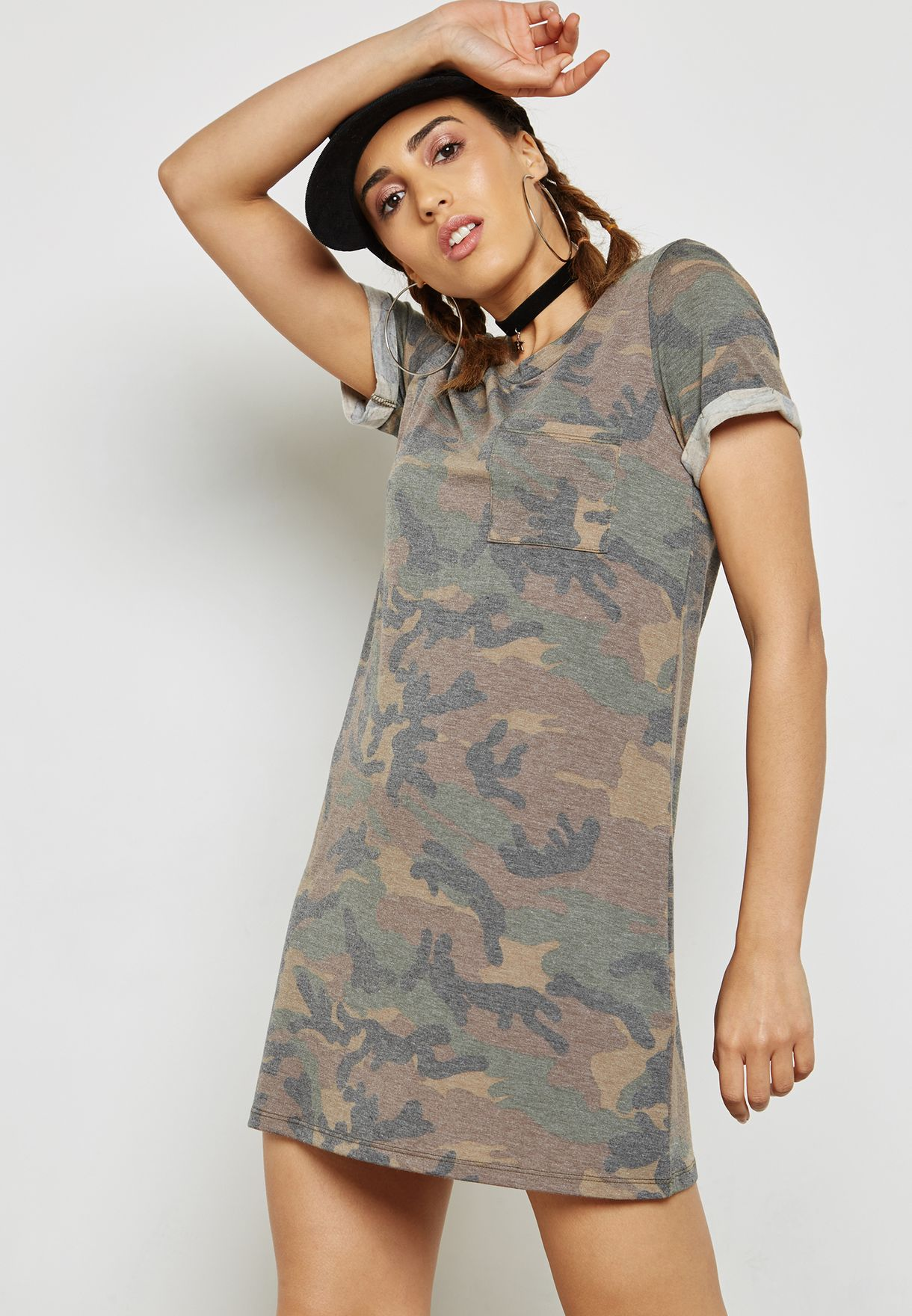58c9caf4189c Shop Forever 21 prints Camo T-Shirt Dress 149132 for Women in UAE ...