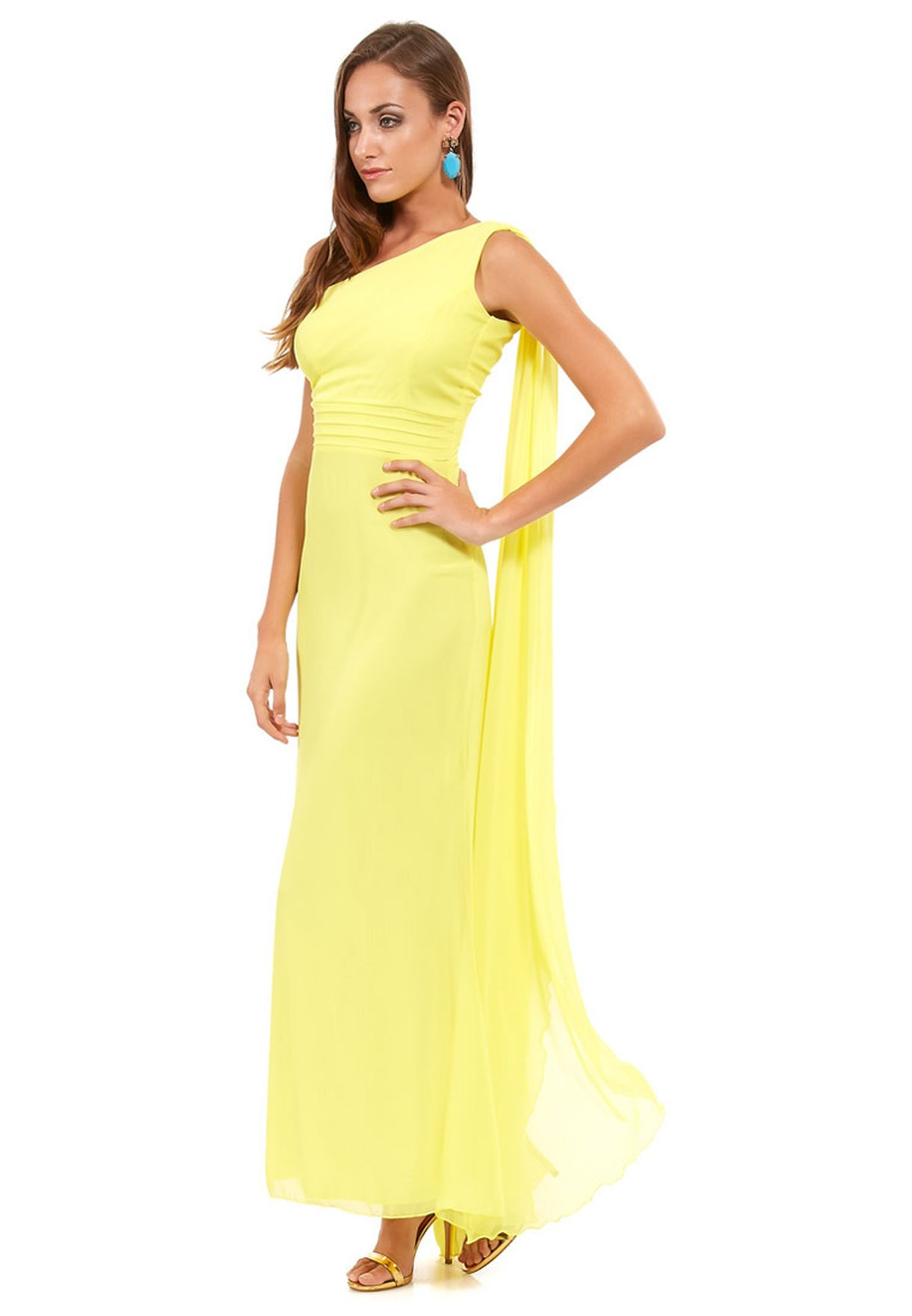 85f51fc8b02 Shop Ella Limited Edition yellow One Shoulder Drape Dress for Women ...
