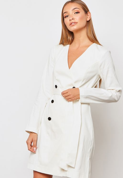 Button Detail Wrap Dress