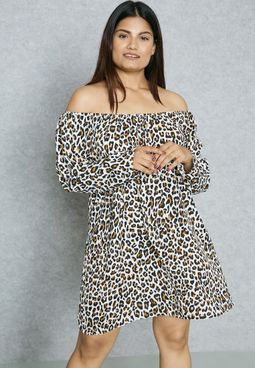 Leopard Print Bardot Dress