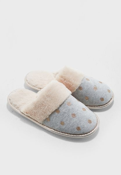 Foil Star Fur Trim Mule