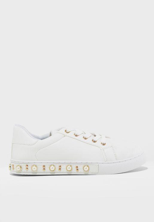 Pearl Embellished Low Top Sneaker