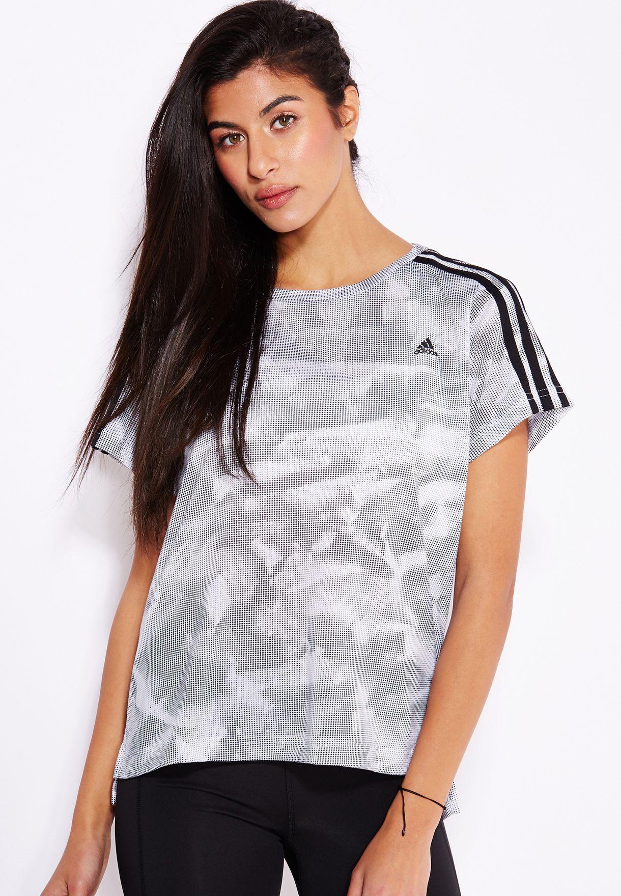 59d1779f Shop adidas monochrome Paper Print T-Shirt AJ4672 for Women in ...