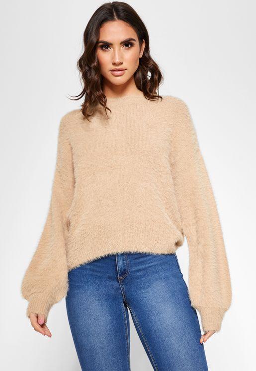Fuzzy Crew Neck Sweater