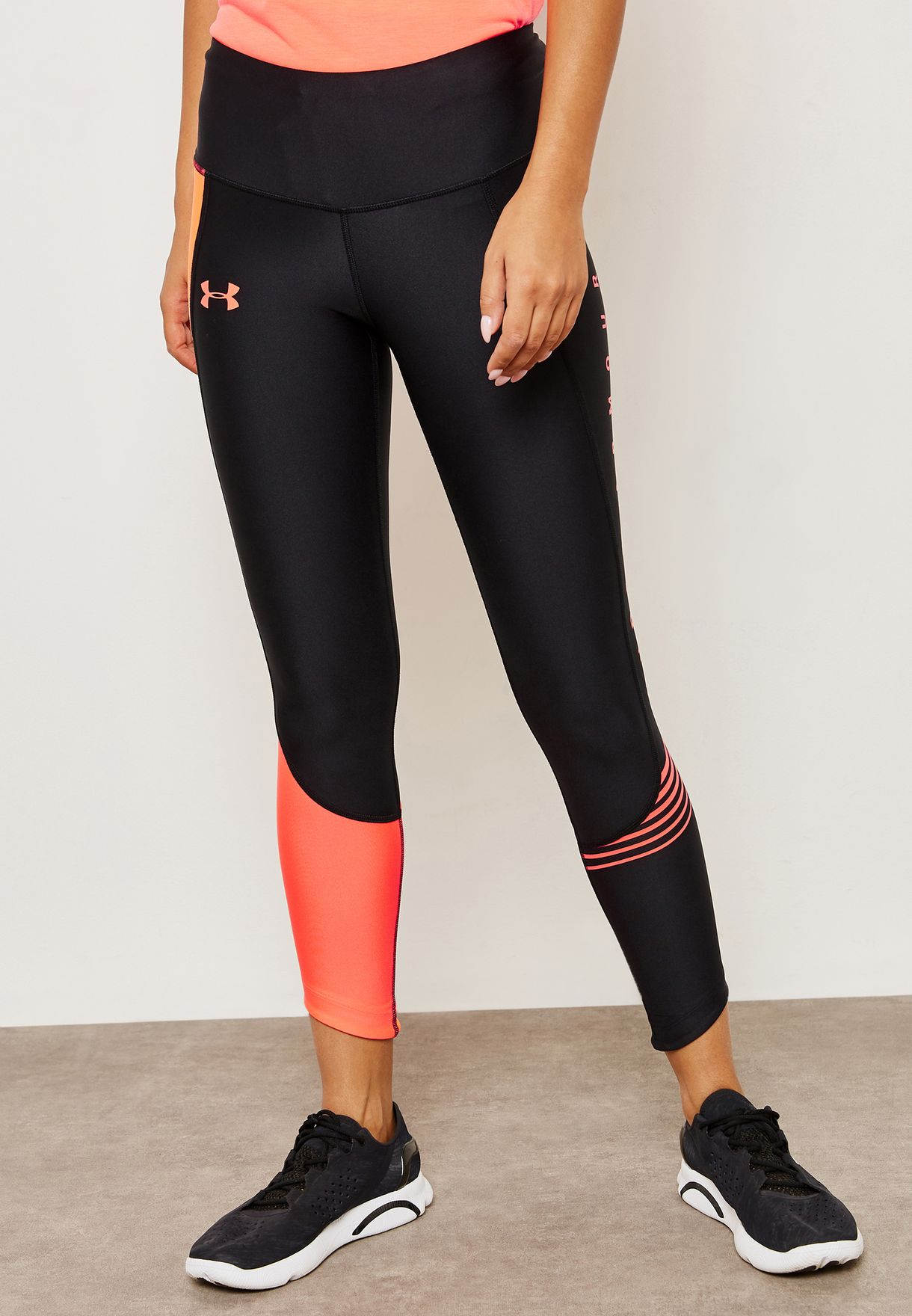 e65a3afaed Shop Under Armour black Fly Fast Graphic Cropped Leggings 1317291 ...