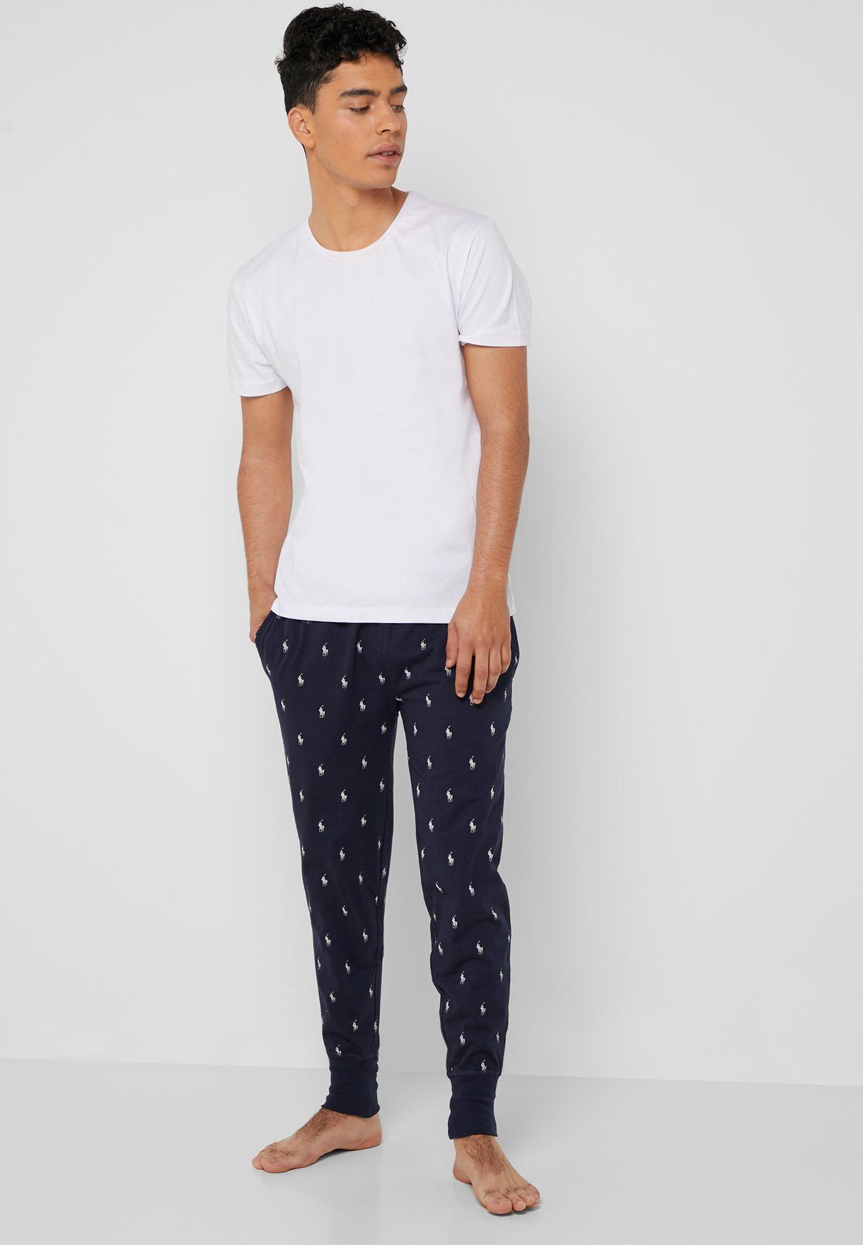 0c70c1f4f Shop Polo Ralph Lauren blue Dot Print Cuffed Pyjama ...