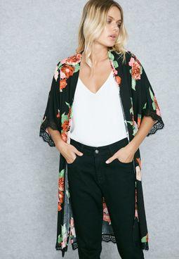 Longline Floral Print Kimono