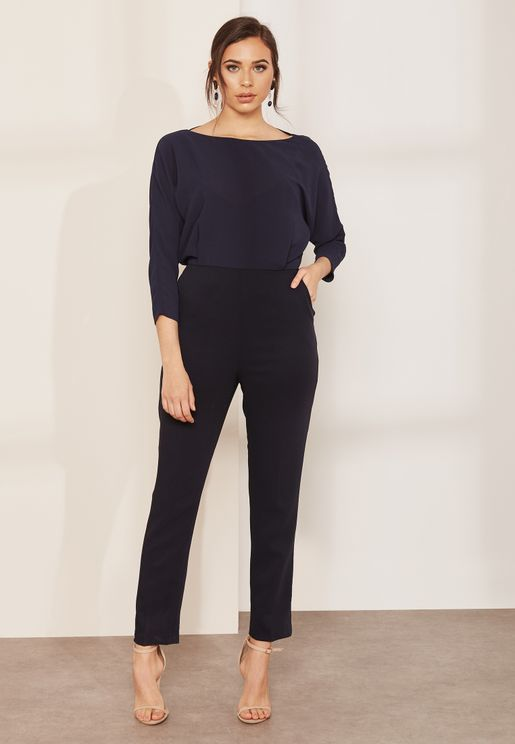 Ania Long Sleeve Crew Neck Jumpsuit