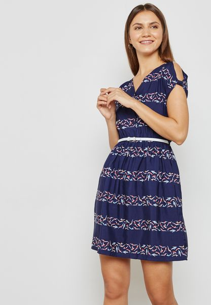 Sleeve Cut Out Printed Dress