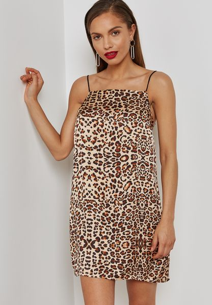 Leopard Print Slip Dress