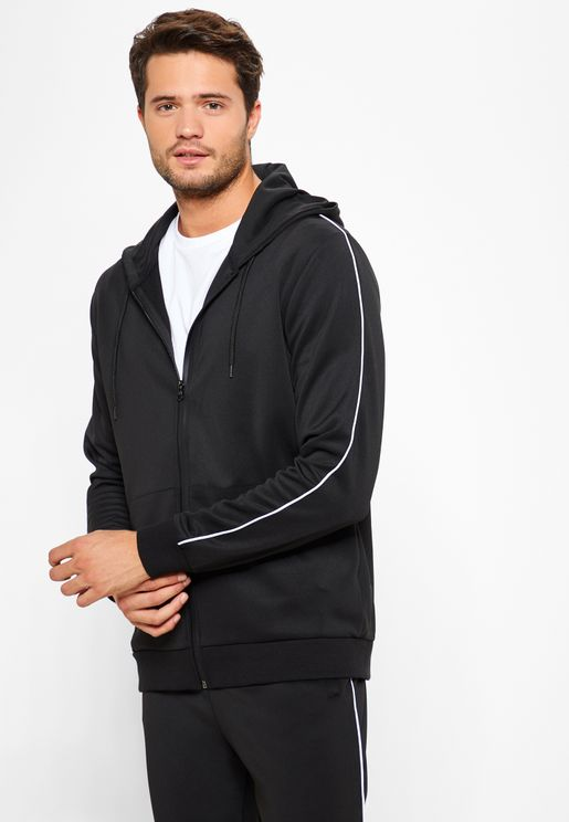 Striped Sleeve Zip Through Hoodie
