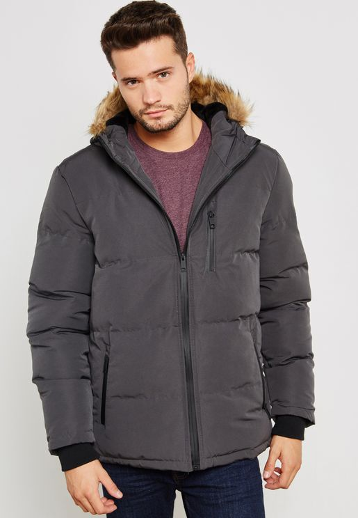 Padded Hooded Jacket Zip Through