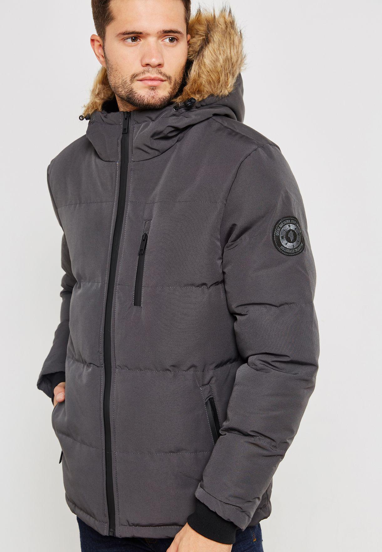 Padded Hooded Jacket Zip Through