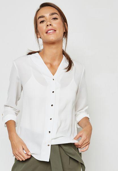 Collarless Roll Sleeve Shirt