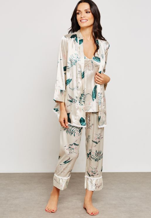 3 In 1 Floral Print Robe Pyjama Set