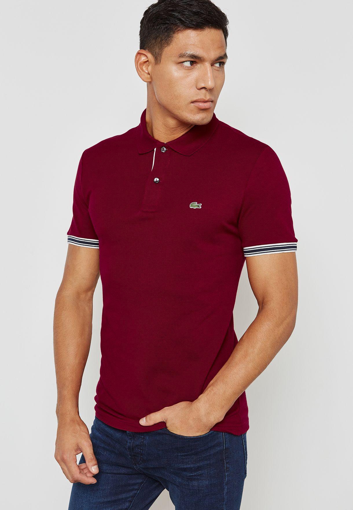 1e77e632 Shop Lacoste red Linen Mix Polo Logo PH3187-YPW for Men in Qatar ...