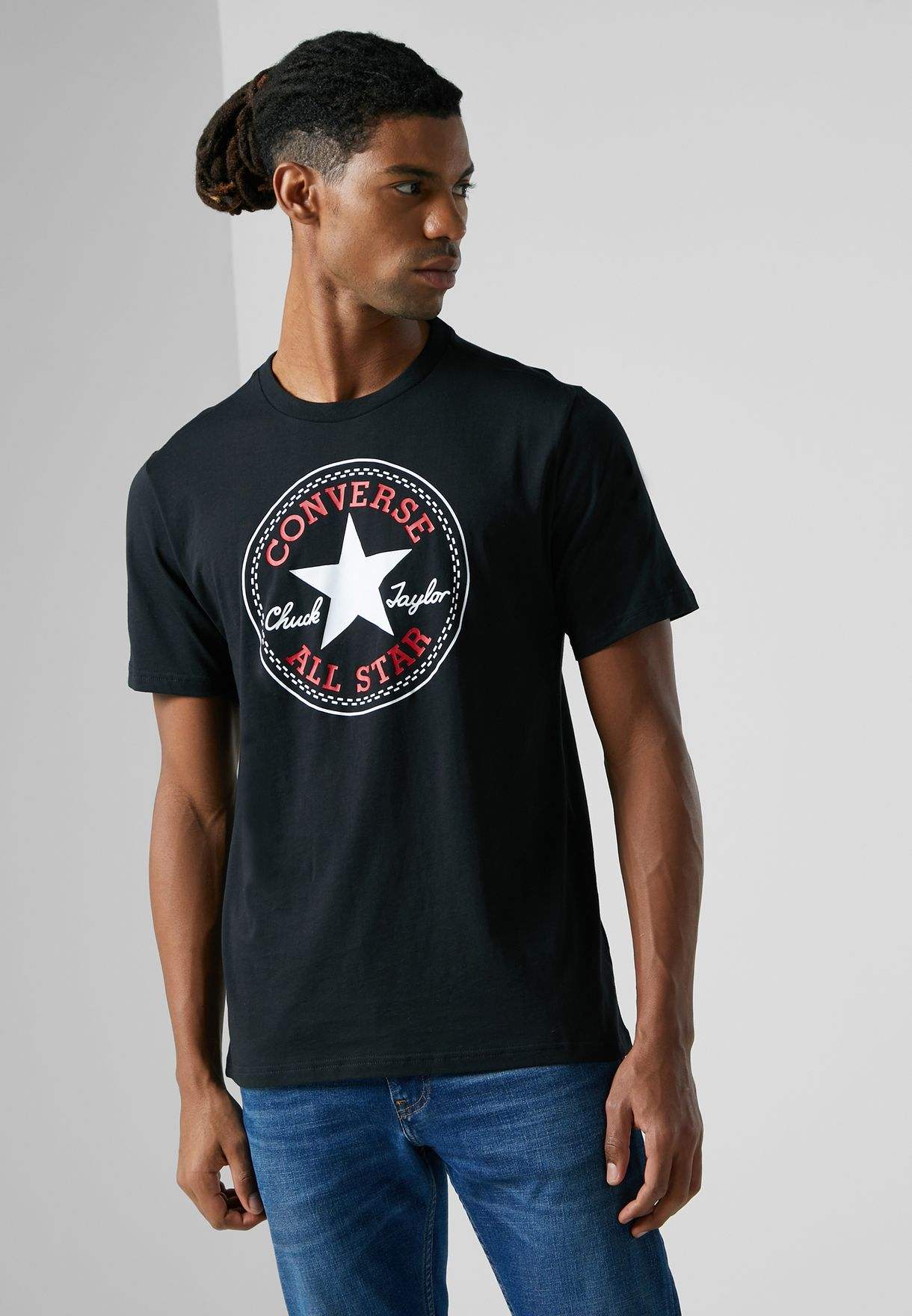 d8a275867c0233 Shop Converse black Chuck Patch T-Shirt 10007887-A01 for Men in UAE ...