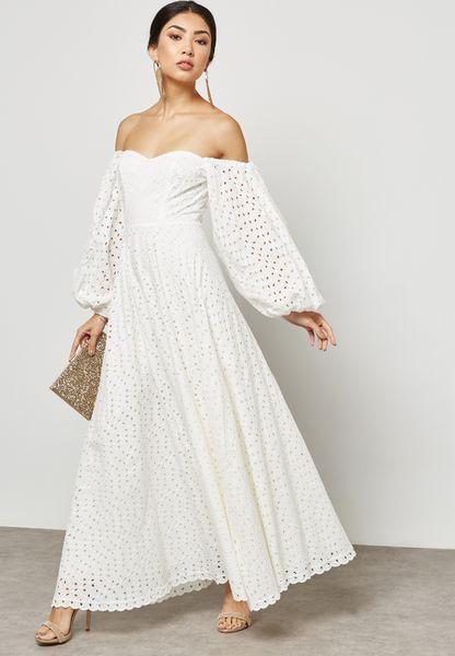 Schiffli Puffled Sleeve Bardot Dress