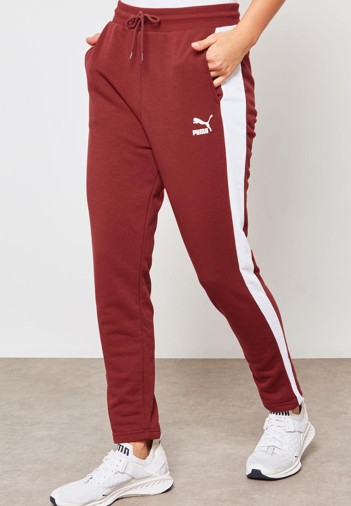 f2e5dfd21ce4 Shop PUMA burgundy Classic T7 Track Pants 57666318 for Women in ...