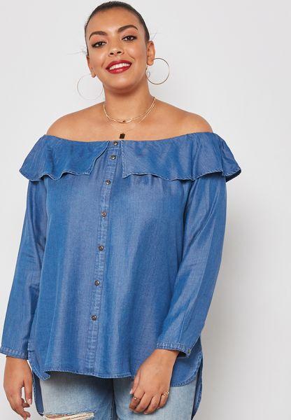 Ruffle Detail Bardot Shirt
