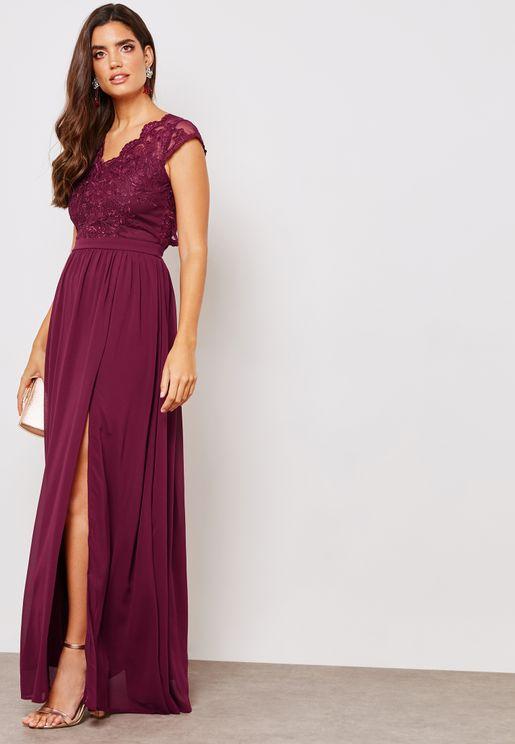 Lace Top Front Split Dress