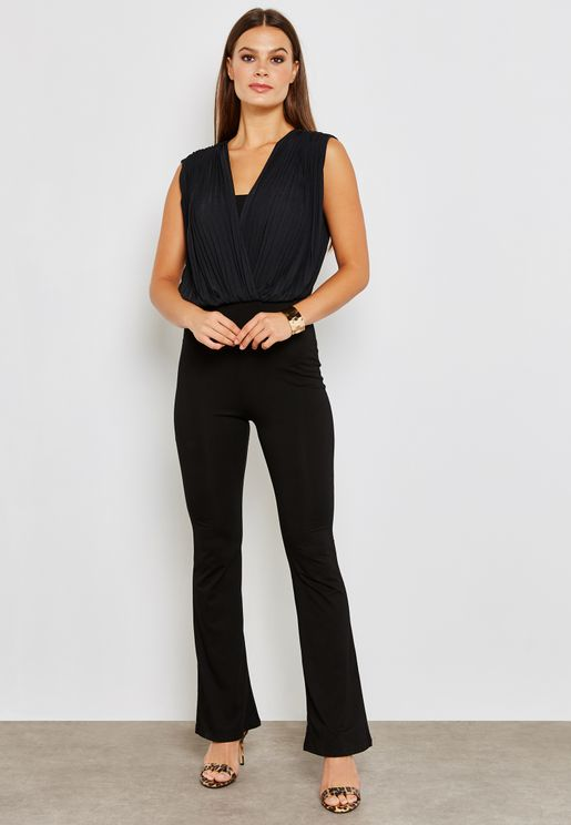 Wrap Front Pleated Top Jumpsuit