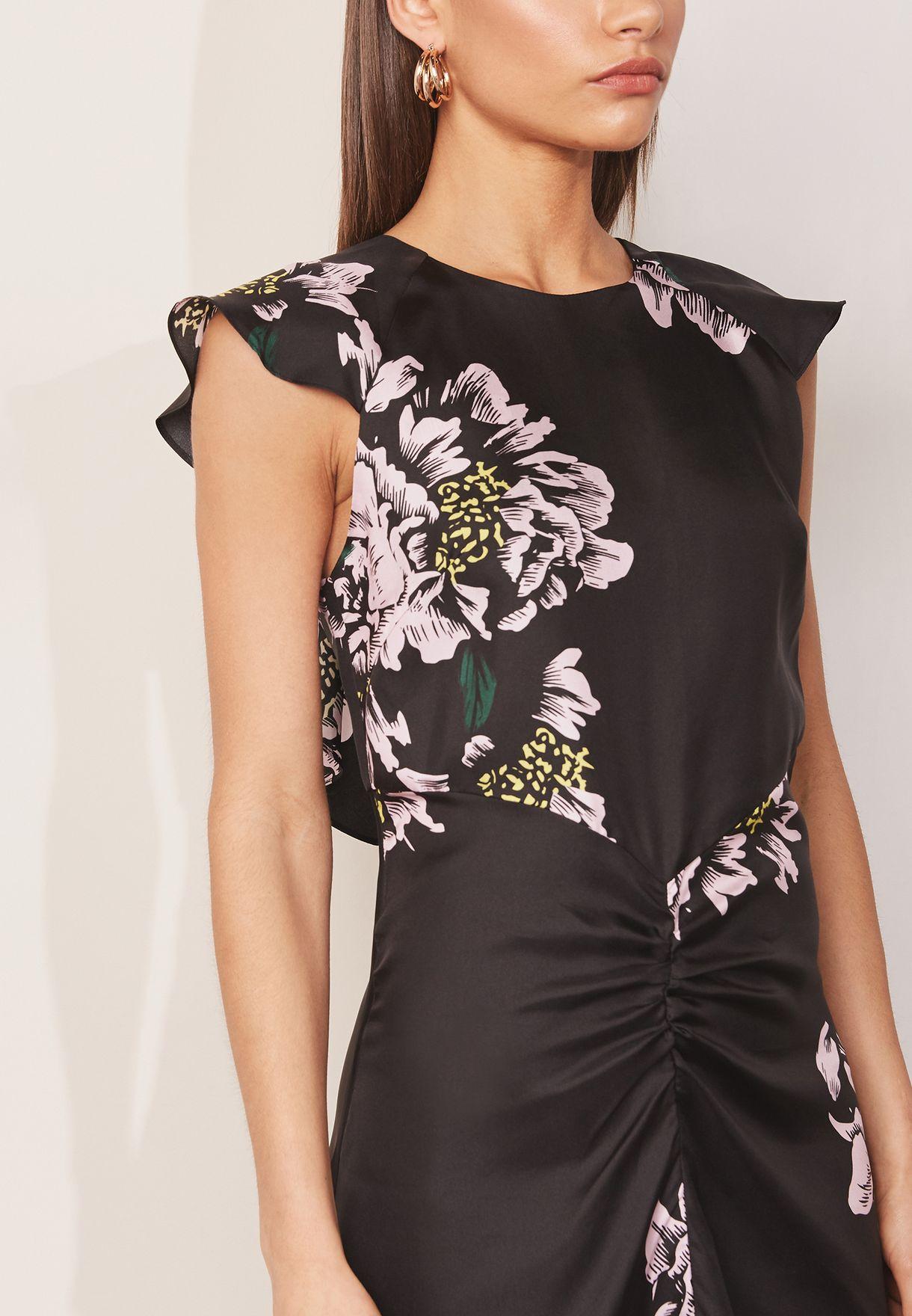 High Neck Floral Print Silk Jasmine Dress