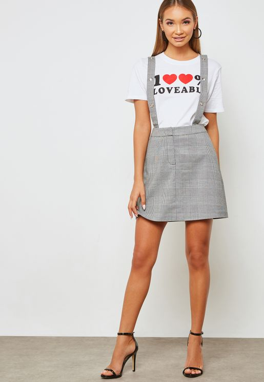 Checked Pinafore Skirt