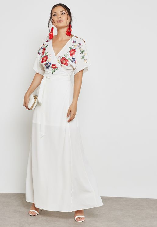 Floral Embroidered Wrap Dress