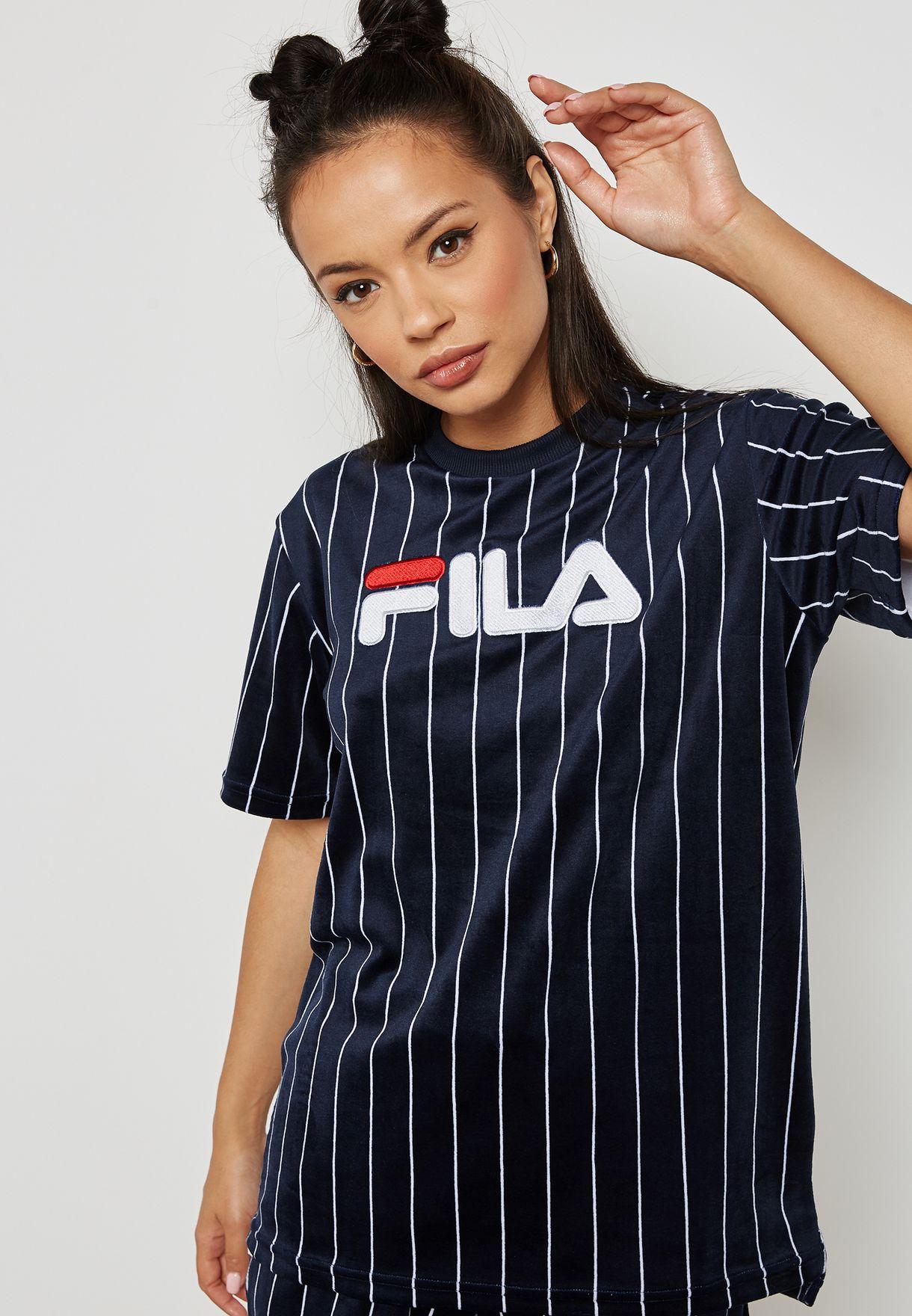 be6b78496ce9 Shop Fila navy Tux Striped T-Shirt LW181K59 for Women in Saudi ...