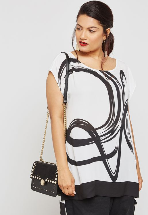 High Low Squiggle Print Top
